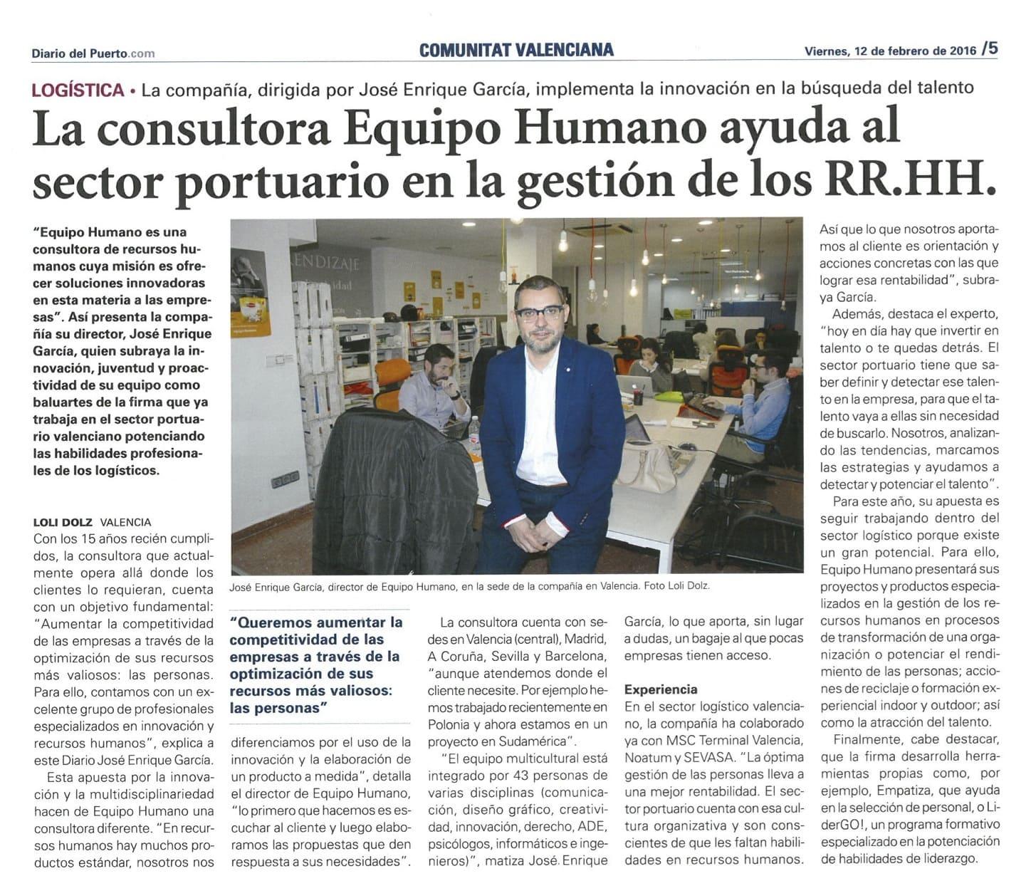Diario del Puerto: Equipo Humano ayuda a las empresas portuarias
