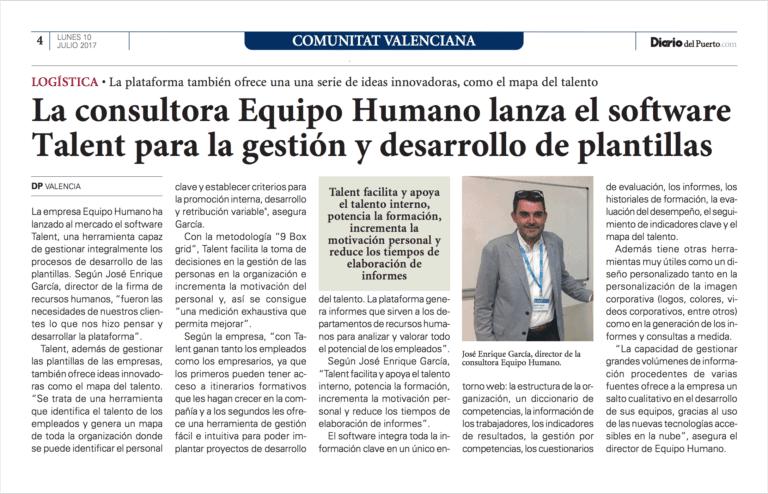Equipo Humano con Talent en El Diario del Puerto