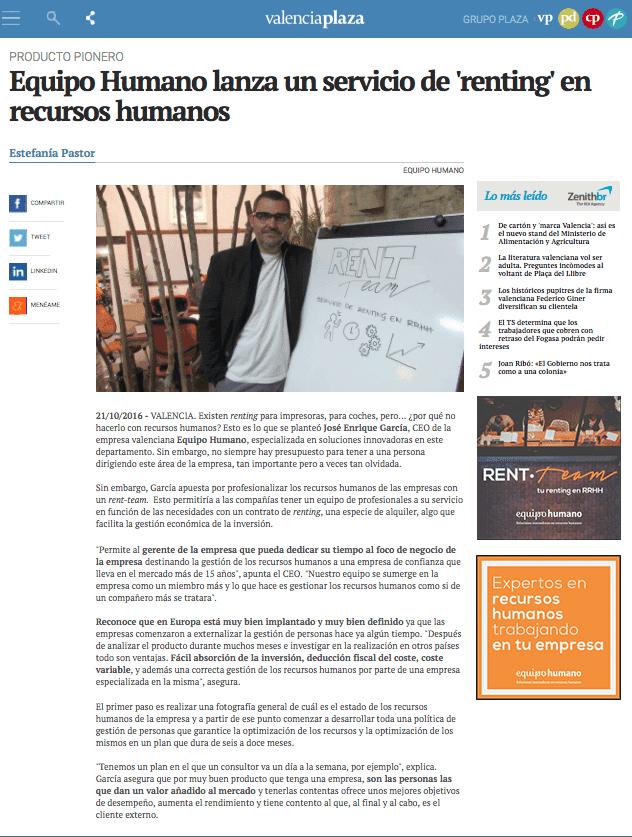 «Rent·Team,el renting en RRHH» en ValenciaPlaza