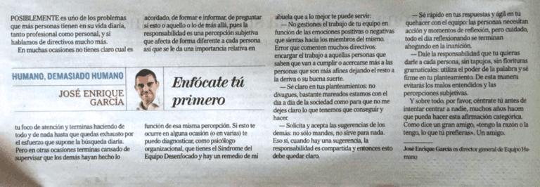 La columna en El Mundo de José Enrique García, director general de Equipo Humano